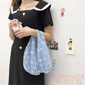 紗刺繡小雛菊可愛購物袋手提包包【聚可愛】