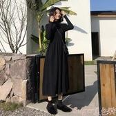 中尺碼洋裝流行針織黑色連身裙子2020新款潮秋冬裝毛衣內搭打底大碼女裝胖mm 春季上新
