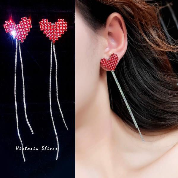 925純銀針  韓國優雅氣質 紅色愛心流蘇 耳環-維多利亞181118