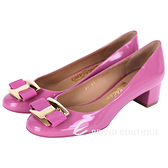 Salvatore Ferragamo NINNA 漆皮蝴蝶結粗跟鞋(粉色) 1610075-05