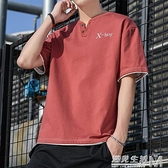 純棉短袖t恤男韓版寬鬆潮流刺繡V領體恤男士夏季薄款百搭潮牌衣服 遇見生活