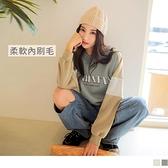 《AB14437-》台灣製造。保暖內刷毛短版英字印花配色拼接長袖上衣 OB嚴選