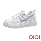 休閒鞋 撞色線條內增高厚底小白鞋(紫) ...