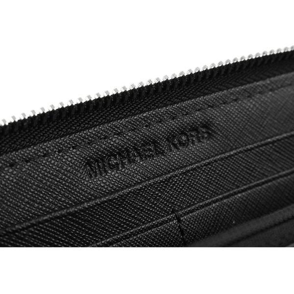 【MICHAEL KORS】銀字logoㄇ型拉鏈長夾(黑色)32T3STVE3L 001