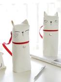 安蔻文具 創意貓咪可愛筆袋女 韓國文具袋男小清新帆布卡通鉛筆袋 初高中大學生便