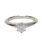Tiffany & Co 蒂芬妮 Solitaire系列0.25ct 六爪單顆鑽石柏金戒指  7號 【BRAND OFF】
