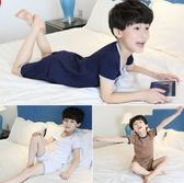 夏兒童家居中大童棉質短袖薄款睡衣套裝yhs1473【123休閒館】