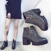 YAHOO618◮2019秋冬季女靴子歐美英倫時尚馬丁靴短靴圓頭高跟粗跟防滑側拉鍊 韓趣優品☌
