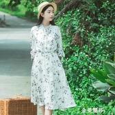 新款小個子洋裝女夏季仙女超仙森系學生文藝碎花長裙桔梗裙 極簡雜貨