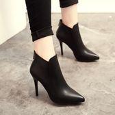 短靴女春秋新款冬季鞋子高跟尖頭靴子及踝靴細跟馬丁靴裸靴女    韓小姐