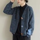 純棉V領長袖針織開衫 單排扣拼接保暖外套...