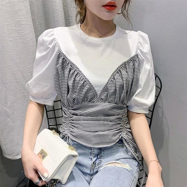 2021夏季新款港風抽繩格子拼接假兩件短袖T恤女裝短款泡泡袖上衣 維多原創