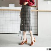《CA1160》拼色英倫格紋釦造型毛料面筆直中長裙 OrangeBear