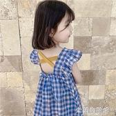 女童洋裝 夏季女童棉麻連衣裙2021新款中小童韓版格子裙寶寶小飛袖韓版短裙 快速出貨