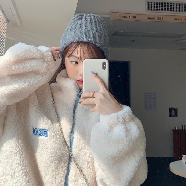 外套 冬季韓風chic可愛毛絨絨寬松羊羔毛加厚拉鏈外套女休閑【快速出貨】