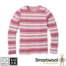 【SmartWool 美國 孩童NTS 250印花長袖衫《粉橘/酒紅》】SW016122/長袖衛生衣/內層衣