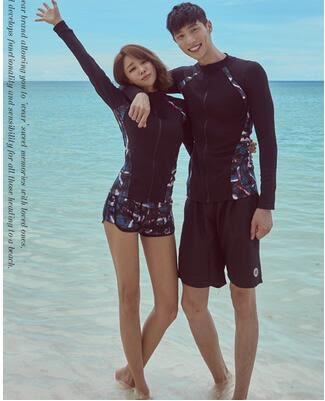 韓國潛水服拉錬分體長袖長褲游泳衣防曬速幹情侶男女水母衣浮潛服 英雄聯盟