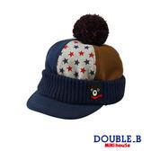 DOUBLE_B 運動風混搭針織毛球帽(多色)