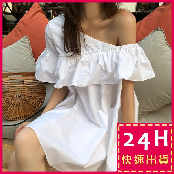 梨卡★現貨 - 韓國氣質仿一字領單肩斜肩優雅白連身裙短裙洋裝B780
