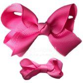 Cutie Bella 手工蝴蝶結髮夾 羅紋緞帶 全包布 中小款二入套組-Smitten