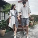 情侶裝 同色系情侶裝夏裝套裝2020新款韓版短袖T恤小眾設計感拼接連衣裙