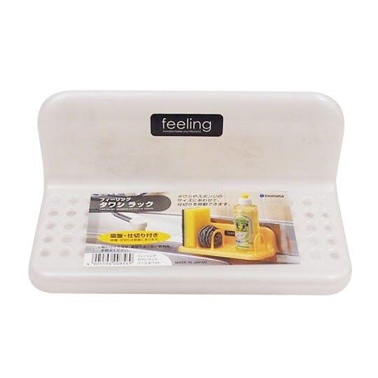 小禮堂 日本INOMATA 日製 吸盤式菜瓜布架 L型收納架 塑膠瀝水架 瓶罐架 (白) 4905596-00856