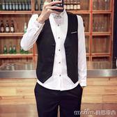 西裝馬甲套裝男士春夏季商務正裝韓版修身酒店工裝西服馬夾伴郎服 美芭