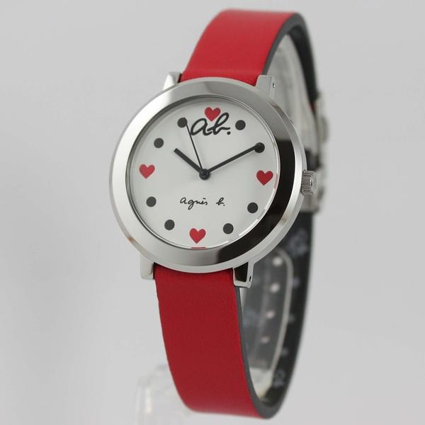【萬年鐘錶】agnes b. 法式簡約時尚風 紅心圖案 腕錶 銀x白 34mm VJ21-K972R(BH8001X1)