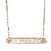茱麗葉精品【全新現貨】COACH 76470 經典LOGO鐵牌鑲鑽邊造型項鍊.玫瑰金/白