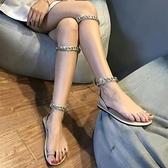 涼鞋女夏新品金屬鏈條兩穿套趾綁帶泰國度假沙灘羅馬平底涼鞋 - 風尚3C