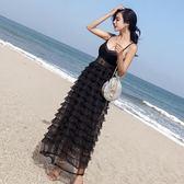 巴厘島海邊沙灘裙小心機性感顯瘦吊帶露背連身裙超仙度假長裙女洋裝
