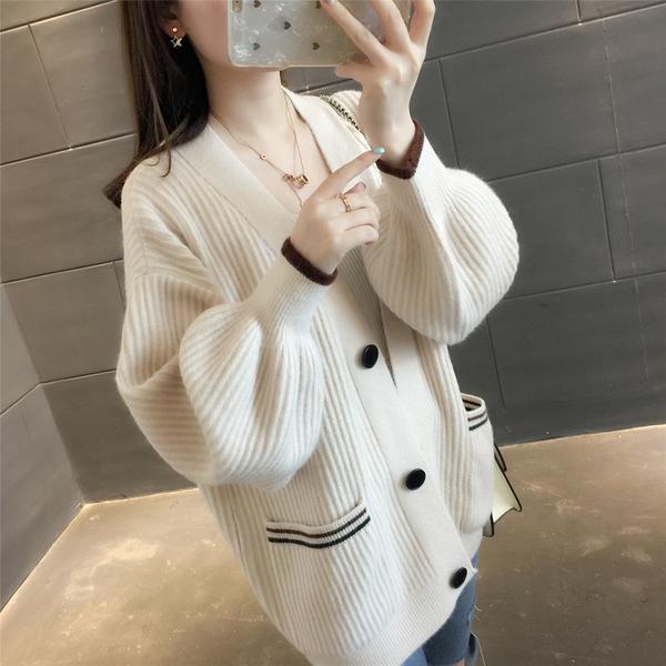 VK旗艦店 韓系素色純色燈籠袖開衫毛衣針織單品上衣外套