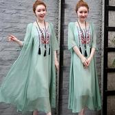 洋装 中大尺碼 2021年夏季復古寬鬆刺繡假兩件套民族風七分袖連身裙顯瘦長裙套裝