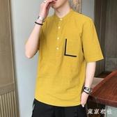 日系簡約短袖襯衣 男士2020年夏季休閒寬鬆五分袖襯衫體恤潮流半袖 JX867『東京衣社』