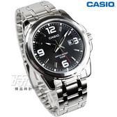 CASIO卡西歐 MTP-1314D-1A  日期視窗 男錶 指針錶 礦物玻璃 防水50米 日期顯示 不銹鋼錶帶 黑色