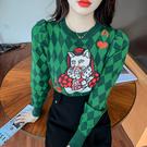 VK精品服飾 韓國風復古撞色格子刺繡針織衫撲克貓毛衣長袖上衣