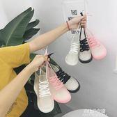 透明短筒雨鞋女戶外防滑果凍膠鞋繫帶雨靴水鞋潮  朵拉朵衣櫥