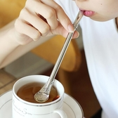 不銹鋼吸管勺子咖啡攪拌勺馬黛茶勺熱飲勺