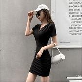 洋裝性感連身裙S-XL新款氣質褶皺收腰修身顯瘦緊身包臀裙子NE215D-5822.一號公館