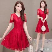 新款韓版夏蕾絲a字矮小個子很仙的連身裙女收腰顯瘦氣質大碼洋裝 yu3758『夢幻家居』