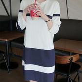 正韓海軍風洋裝韓國空運 線條配色百搭舒適連身裙 艾爾莎【TLS00230】