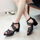 韓版時尚涼鞋鏤空透氣百搭包頭粗跟鞋沙灘羅馬女鞋