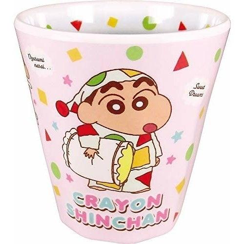 小禮堂 蠟筆小新 美耐皿杯 無把 兒童水杯 漱口杯 塑膠杯 270ml (粉綠 睡衣) 4548626-11758
