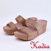 kadia.閃耀滿鑽寬版厚底涼拖鞋(9102-25棕色)