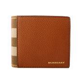 【BURBERRY】House格紋拼皮革對開8卡短夾(粟棕色)4061994