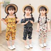 中大尺碼女童套裝 時尚一字肩雪紡印花休閒兩件式女寶寶夏季新款 HT22741