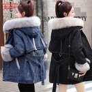 時尚大毛領中長款加絨牛仔外套女冬新款韓版學生寬鬆洋氣減齡棉服 小山好物