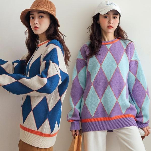 現貨-MIUSTAR 風格大膽配色菱格混絨毛衣(共2色)【NH3609】預購
