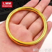 刻999傳承沙金手鐲女小眾設計閉口加重越南鍍金24K黃金色首飾  MOON衣櫥