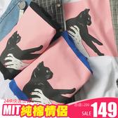 潮T 文字T 情侶T 情侶裝  純棉短T MIT台灣製【Y0833】手抓黑貓粉紅框 快速出貨